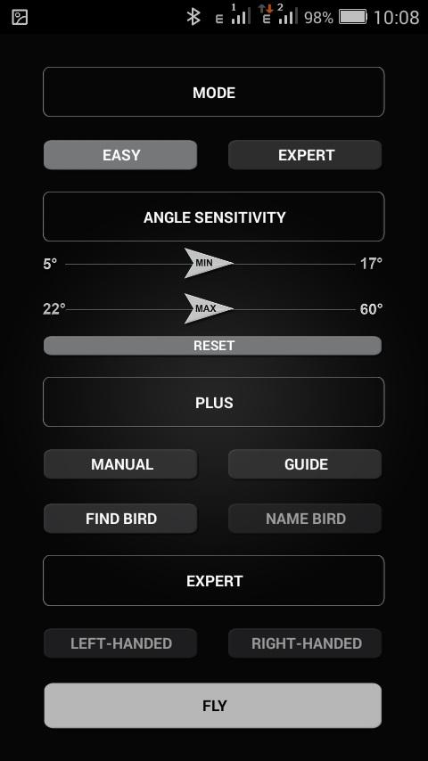 Основное меню приложения The Flying App