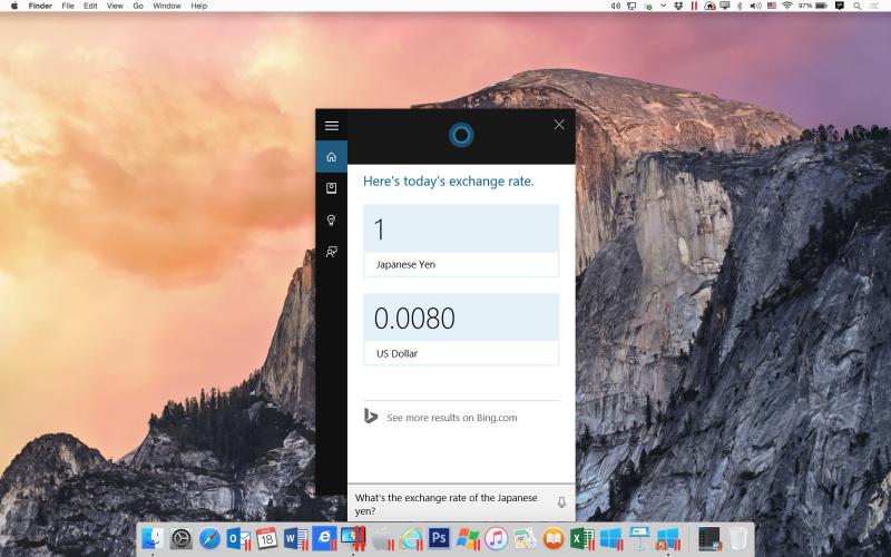 Помощник Cortana в Mac OS X