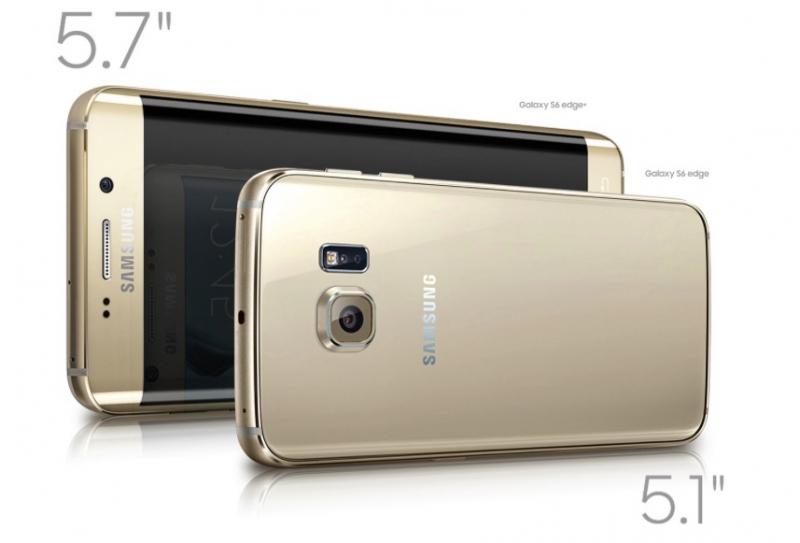 Сравнение габаритов Samsung GALAXY S6 Edge+ и «оригинального» GALAXY S6 Edge (официальное фото)