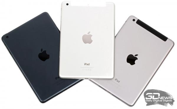 Apple iPad mini – задние панели трех поколений (mini 3 справа)