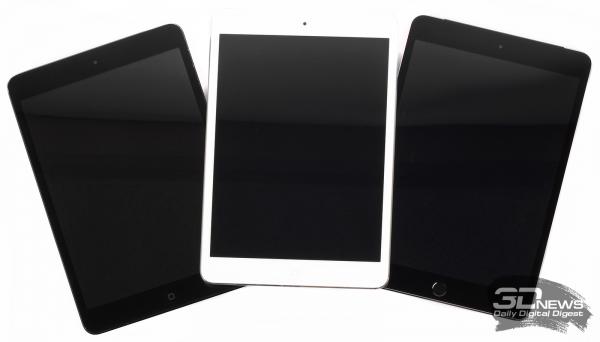 Слева-направо: iPad mini, iPad mini 2 и iPad mini 3 (без нашей подсказки разобраться какой гаджет где, было бы непросто)