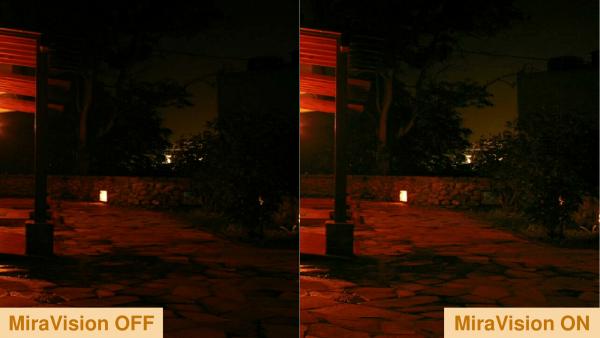 На темных снимках MiraVision позволяет сохранить детали