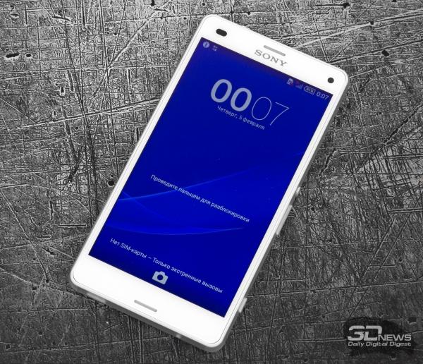 Sony Xperia Z3 Compact со включенным экраном