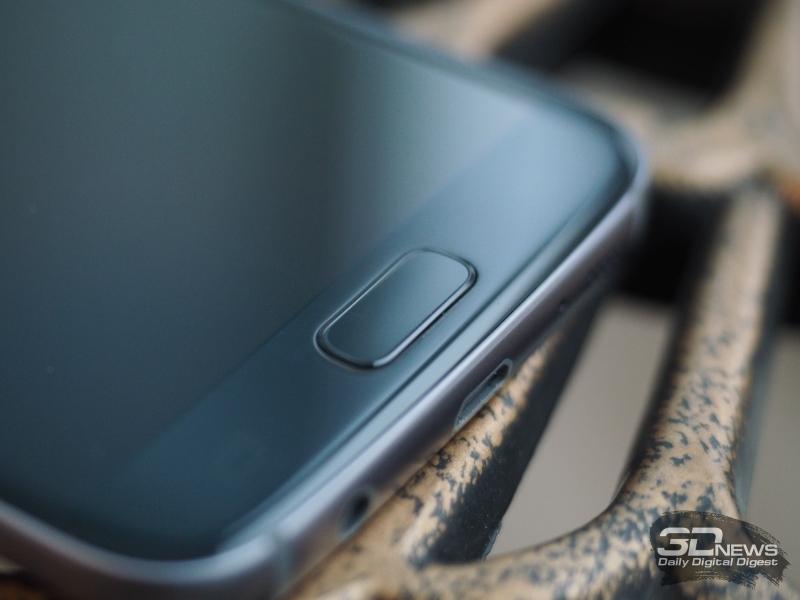 Samsung Galaxy S7, сканер отпечатка пальца здесь встроен в клавишу «Домой»